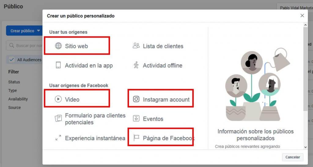 Creación de públicos en Facebook Business Manager