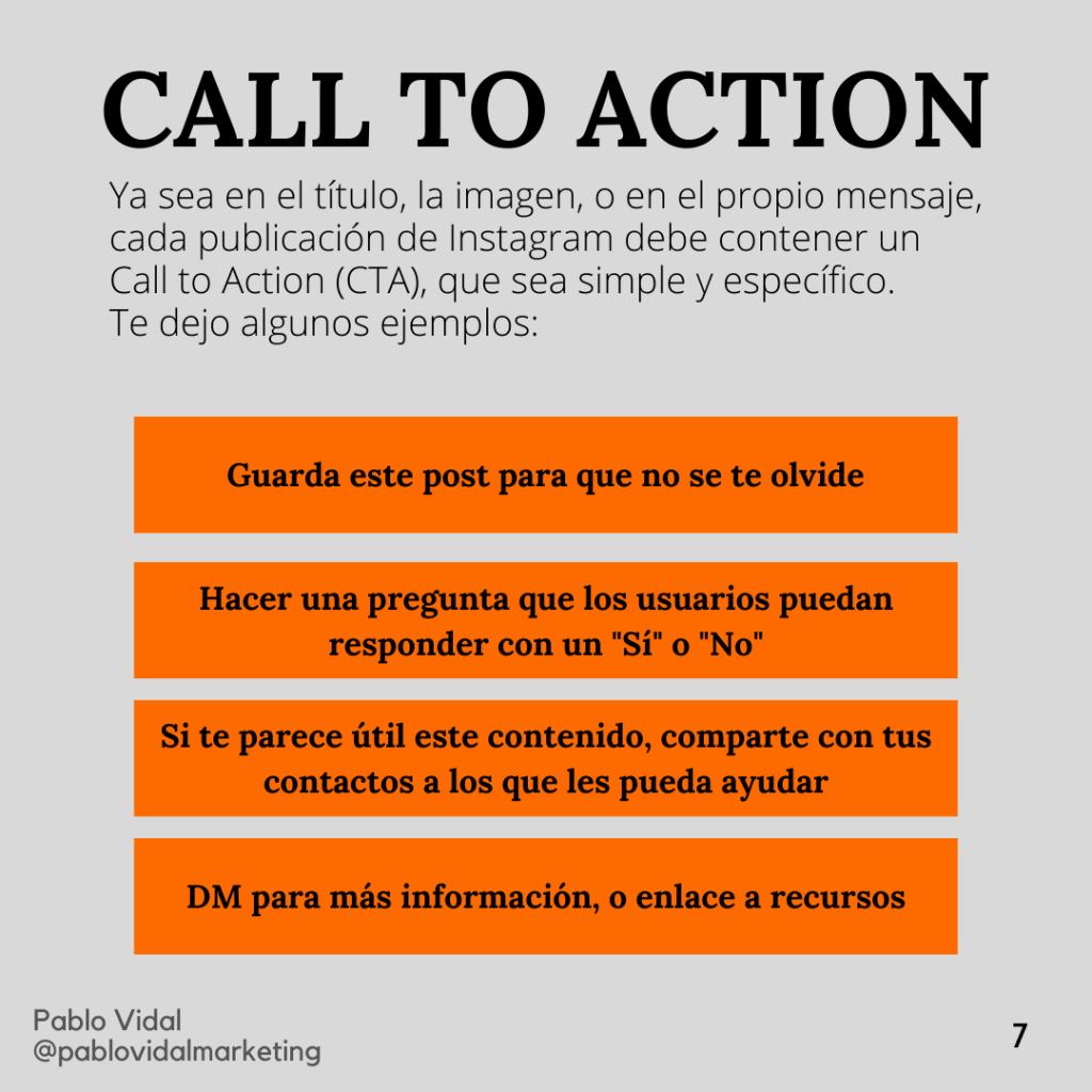 Llamada a la acción en Instagram